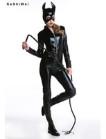 Wholesale New Sexy Cat Suit Fancy Dress Shiny Super Hero Black Animal Leather Cat Womens Costume Halloween Costumes For Women