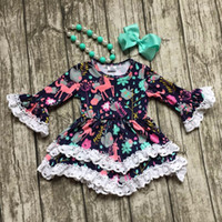 Wholesale girls clothes baby kids clothes unicorn print cotton Fall Winter white lace dress boutique flare sleeve matching necklace bow