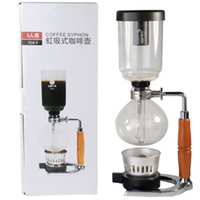 Wholesale 3 Cups high quality temperaturet resistant glass Wood handle syphon coffee pot stainless steel coffee brewer