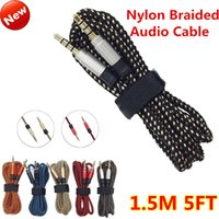 Wholesale 3 mm Male Stereo Auxiliary AUX Extension Unbroken Metal Nylon Braiede Audio Cable M FT for iphone s MP3 Speaker Tablet PC