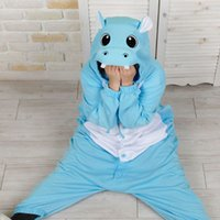 adult oneise - Animal Blue Hippo Pajamas Cosplay Hooded Romper Jumpsuit Sleepwear Adult Oneise Wedding Gift S M L XL