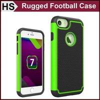Silicone apple iphone gros France-Pour le cas iPhone 7 Rugged Football Ligne 2 en 1 Disque PC en plastique souple en silicone hybride gros antichoc Retour couverture de peau