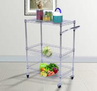 Wholesale 3 Tier Steel Kitchen Trolley Cart Island Wire Rack Basket Shelf Stand Rolling