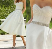Cheap 2016 Sweetheart Pleated Beads Sequined Wedding Gowns Tea Length With Pockets Wedding Bridal Dress Fashion Dresses Wedding With Crystal