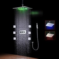 Wholesale Body jet bathroom shower set with mm square led showerhead high flow shower valve and inch body jets