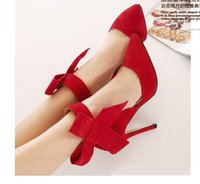 Wholesale Blue Black With Bow Slingbacks High Heeled Pumps Green Red Plus Size Women Shoes size to