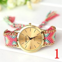 background stainless steel - 2016 Hot sale fashion Colorful hand knitted strap watch Casual fashion women girls quartz watch Golden Simple background of the watch