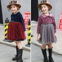 baby wear flannel - Baby Kids Clothing Autumn Winter Gir Velvet Splicing Dress Girls Korean Style Vivi Colors High Quality Kids Party Wear Girl s Dresses