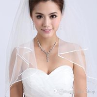Wholesale 2016 New Arrival Cheap White Ivory Tulle Two Layers Wedding Veils with Tomb Satin Edge Two Layer Wedding Accessory Bridal Veil