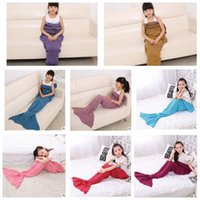 Wholesale 140 cm Kids Mermaid Blankets Mermaid Tail Sleeping Bagss Handmade Crocheted Blankets Air Condition Sofa nap Blankets KKA685