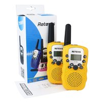 Wholesale 2PCS New Yellow Walkie Talkie Retevis RT UHF MHz W CH For Kid Children LCD Display Flashlight VOX Two Way Radio
