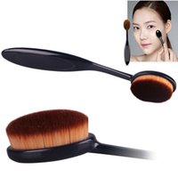 Wholesale Pro Powder Foundation Makeup Toothbrushes Nylon Black Curve oval foundation brush MakeUp blending Brushes Cosmetic Makeup Tools DHL Free