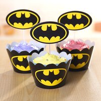 Wholesale cartoon batman paper cupcake wrappers toppers for kids birthday party Halloween decoration cupcake toppers DHL