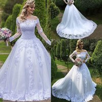 Wholesale 2016 Vestido De Festa Bateau Neck Lace Appliqued Wedding Dresses Ball Gown Tulle Long Sheer Sleeves Chapel Train Bridal Dresses