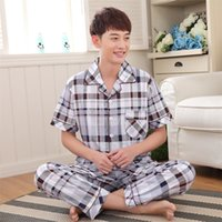 Wholesale Summer Men s Cotton Set Short Sleeve Pajamas Long Pants Men Plaid Pajamas Set for Male Homewear Sleepwear