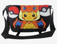 Wholesale Poke Go Print Shoulder Bags Designs cartoon anime School Bags Poke Ball Pikachu Eevee Canvas Bags