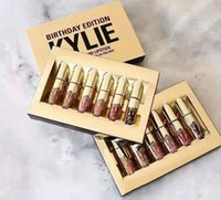 Wholesale Newest Golden Kylie Birthday Edition birthday gifts lip gloss enamel package one box kylie jenner Matte Lipstick DHL