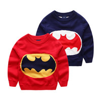 Wholesale ZY27 kids boys fall spring winter O neck Pullover long sleeve sweaters child boys Jacquard batman double layer thickened sweater free ship