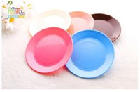 Wholesale SMILEMARKET FREE GIFT Plastic Thicken multi inch solid round plate dish Tableware Disc