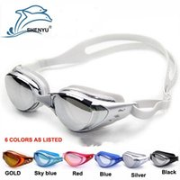 Wholesale 2016 Trendy Waterproof Swim Glasses swimming goggles men and women unisex coating swimming glasses adult goggles SY6100