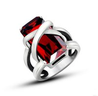 ruby ring and diamond - Men and women gem lovers ring Personality trend ruby ring titanium steel diamond ring jewelry ring