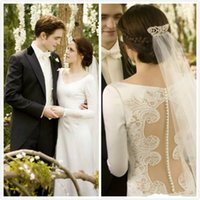 bella twilight style - Hollow Vintage Wedding Dresses Covered Button Twilight Bella Same Style Lace Applique With Long Sleeve Bridal Ball Gown Custom Made