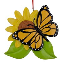 Wholesale Resin Personalized Butterfly Christmas Ornaments With Sunflower As Craft Souvenir For Holiday Gifts or Home Decor
