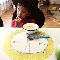 Wholesale Children Cartoon animal table mat Home INS silicone Lunch Dinner Placemat Table Mat Insulation lion bear Circle Mats