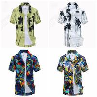 Wholesale LJJL289 Summer Men Loose Thin Shirt Tropical Luau Beach Hawaiian Surf Boards Square Collar Coconut Floral T shirt