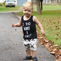 Wholesale 2016 Summer New Fashion Boys Clothing Sets Baby Boy Letters Printed Vest Tops Pants Set Kids Casual Suits Small Boys Outfits sets
