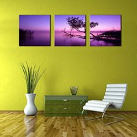 bedroom painted purple - LK3217 Panel Purple Lake and Sky Trees Oil Painting Pictures Prints On Canvas Wall Art For Home Decor Modern Decor For Bedroom Framed Unfr