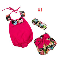 Cheap 2016 Floral Baby Girls Romper Summer Petal collar Butterfly Jumpsuit+Bowknot Shorts +Bows headband Toddler 3pcs Sets Infant Clothes 6290