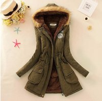 basic outerwear - 2016 Women s Winter Basic Jackets Coat Female Parka With Fur Faux Fur Collar Fleece Jeans Denim Outerwear Coats