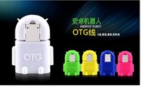 Wholesale Hot sale Fashion Android Robot TV shape Micro USB to USB OTG Adapter for Android Tablet PC Smartphone Phablet With colors