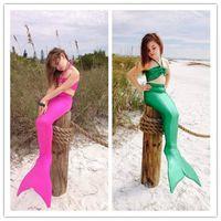 Wholesale 2016 Girl Mermaid Tail Swimmable Monofin Capable Sea maid Fantasia Princess Bikini Swimwear Beach Kids Children Dress