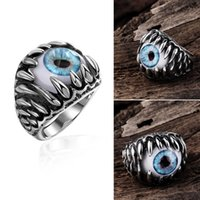ancient rings - 2016 Personality Ancient Mayan Mens Rings Demon Eye Shaped Stainless Steel Ring For Male Retro Gothic Teenagers Ring Fashion Jewelry
