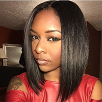 Wholesale Short Female Haircuts Bob Style For Black Women Natural Black Color Synthetic Lace Front Wigs Glueless Front Lace Wig With Baby Hair Hot
