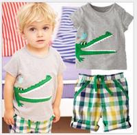 Wholesale 2016 Boy Two Pieces Set Children Cartoon Crocodile Short Sleeve T shirt Tops Shorts Sets Boys Suits Kids Outfits Boy Casual Set