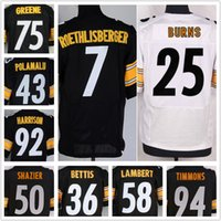 Wholesale Men Roethlisberger Timmons Lambert Bradshaw Polamalu Miller Bettis Shazier Greene HarrisElite Football Jerseys