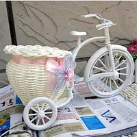 bamboo basket - Hot Sale Rattan Tricycle Bike Flower Basket Vase Storage Garden Wedding Party Decoration Office Bedroom Holding Candy Gift