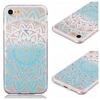Wholesale Clear Flower Iphone Case - Gradient Flower Henna Paisley Mandala Clear Soft TPU Silicone Case For Iphone 7 I7 Plus Sunflower Gel Floral Dreamcatcher Silicon Skin Cover
