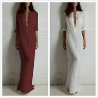 Wholesale Summer Women Sexy Casual Dress Long Sleeve Deep V Neck Linen Split Solid Long Maxi Dress Plus Size