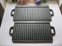 Wholesale OEM ODM Cusom square black Coating thickening bbq plate meat fish flat barbecue steak pan cast iron griddle for gas grill