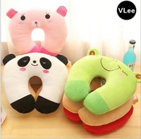 baby support pillow u - Character Baby Kids Neck Support Pillow Cushion Plush Toys Embroidery Children Neck Guard Rug Infant Cartoon PP Cotton Pillows Gifts