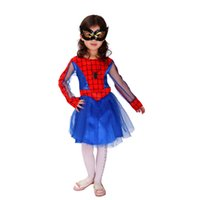 animate spider - Halloween Costume Cartoon Spider woman Cosplay Animated Children Costume for Kids Halloween Role Play Girls Dresses with Eye Mask HC16
