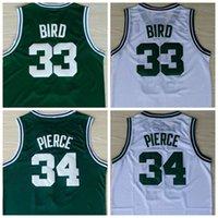 Wholesale 2016 Men Retro Larry Bird Throwback Jersey Stitched Paul Pierce isaiah Thomas Jerseys Shirt Cheap Sale White Green
