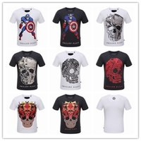 Wholesale top quality men Philipp Plein d t shirt summer brand cotton short sleeve t shirt fashion skull horse printed man casual shirt