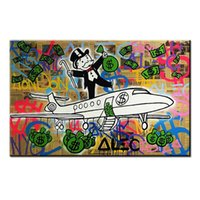 Wholesale money fly Alec monopoly Graffiti mr brainwashart canvas for wall art decoration oil painting wall painting picture No framed