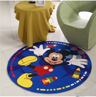 Wholesale Non slip Coral fleece Circular carpet floor mats Print cartoon Micky Minnie Lovely style kid mats new style