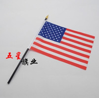 Wholesale 5 inch American Flag USA US FT Polyester double printed National Polyester flag hand wave American flag Family Office Decoration